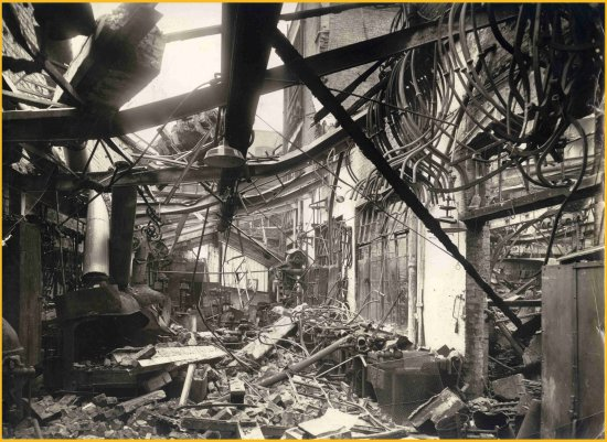 Bomb damage blacksmiths shop 550 pix w