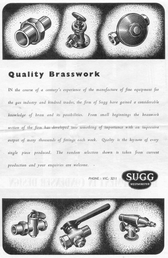 Brasswork Advt, Gas Journal July 2 1947 550 w