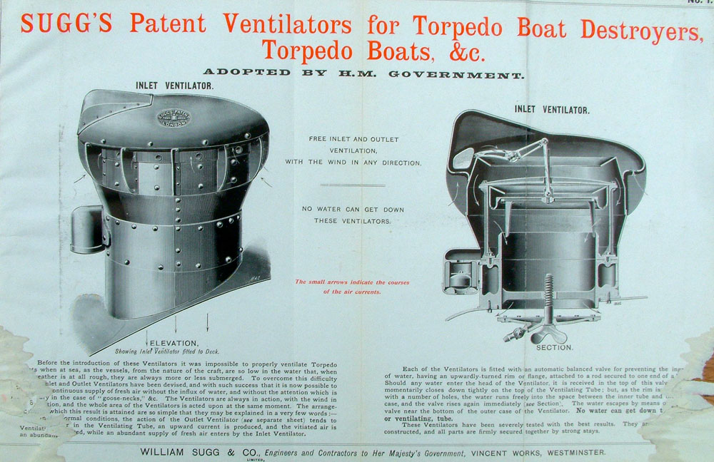 Ventilators for Torp Boat Destroyers (in let)