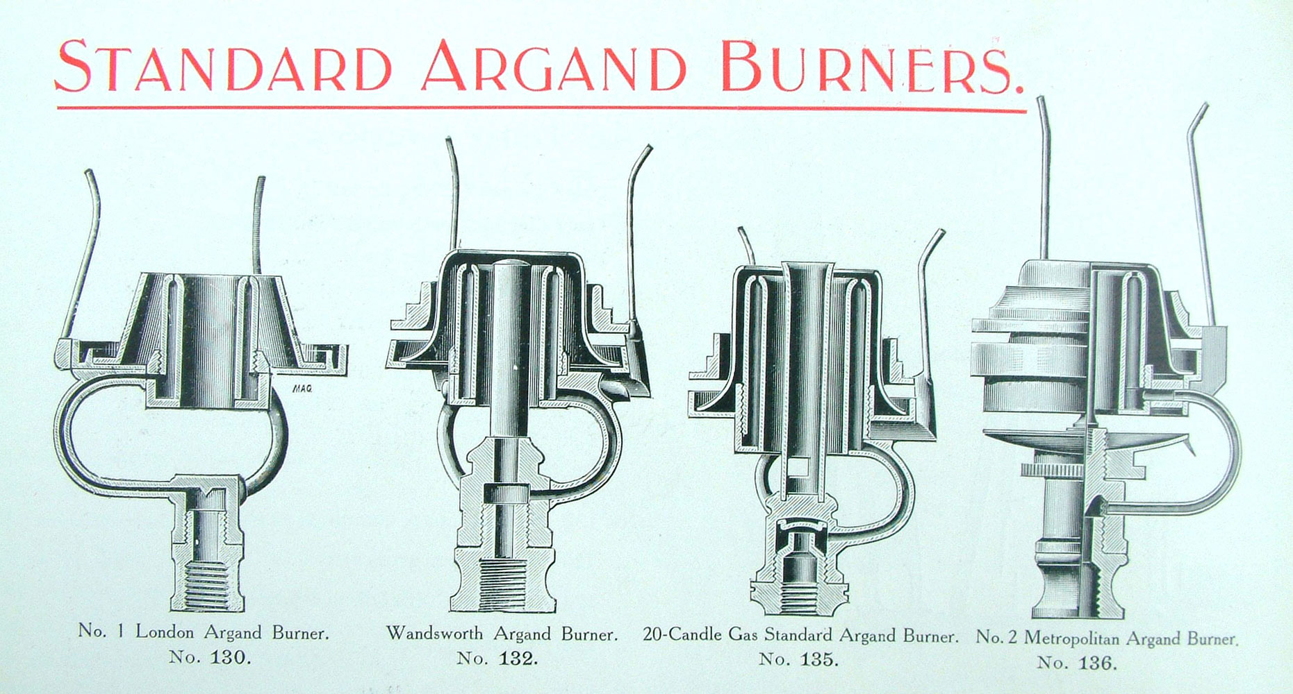T He London Argand Burner On The Left Of The Group Was The Burner That The  Gas Referees Adopted In 1869 As The Standard Test Burner For The Metropolis  And ...